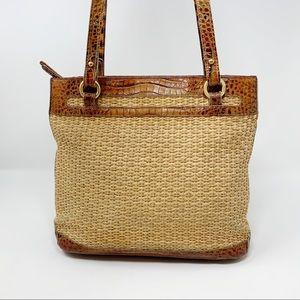 VTG Brahmin Woven Jute and Leather Shoulder Bag